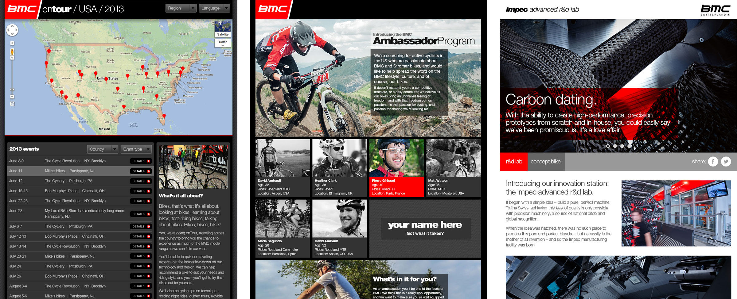 BMC Ride Experience, Ambassador and Impec microsites